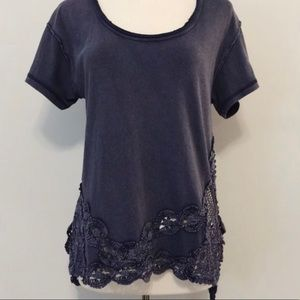 Free people top with crochet detail on bottom